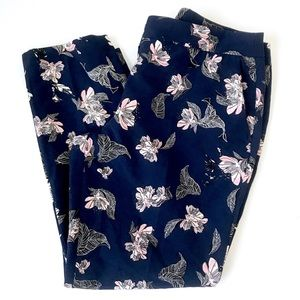 Cynthia rowley navy floral ankle dress pants